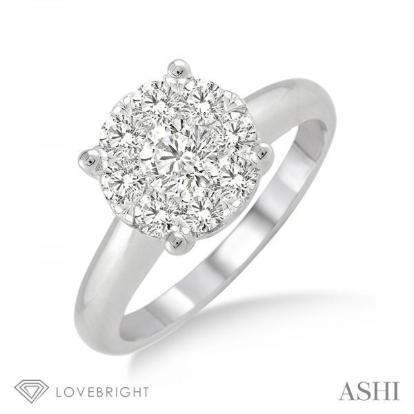 14KW Tiffany Wedding Set with 9=0.50 ctw Round H/I SI1-SI2 Diamonds