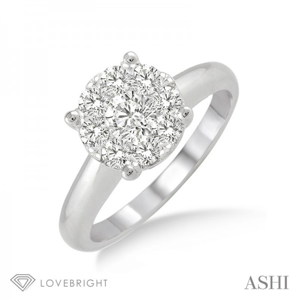 14KW Lovebright Cluster Solitaire Wedding Set with 9=0.35 ctw Round G/H SI1-SI2 Diamonds