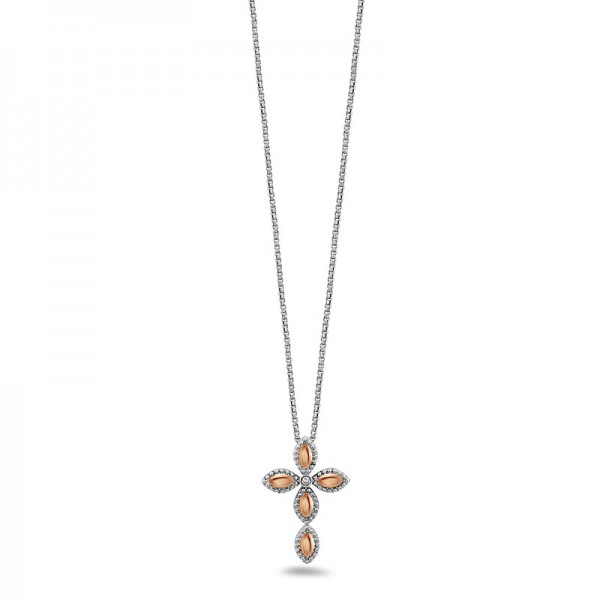Sterling Silver & 18KR Firefely Diamond Bead Cross Necklace