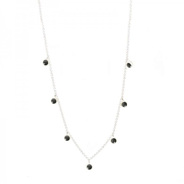 Forged Black Spinel Silver Necklace