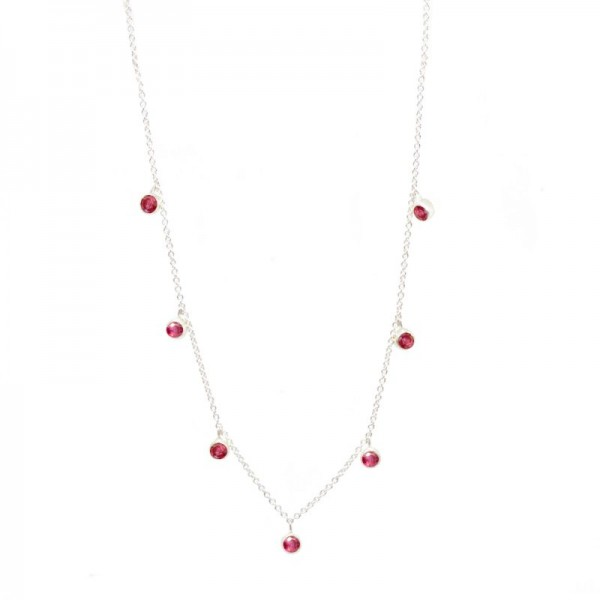 Forged Ruby Silver Necklace