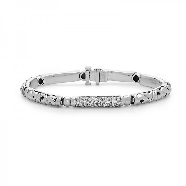 Sterling Silver Diamond Pave Bar Bracelet