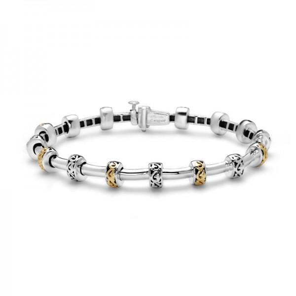 Sterling Silver & 18KY Ivy Petite Rondel Tube Bracelet