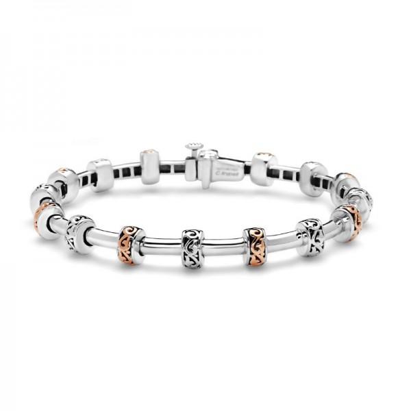Sterling Silver & 18KP Ivy Petite Rondel Tube Bracelet