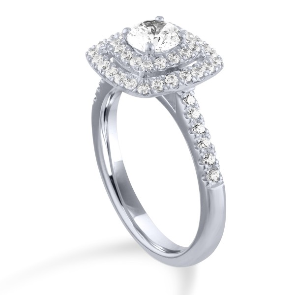 14K White Gold .33ct Round Diamond w/ .37ct tw round diamonds Engagement Ring