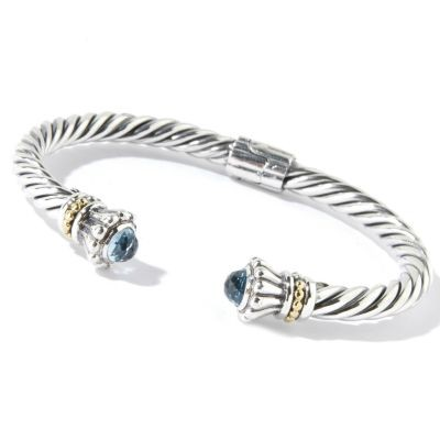 Samuel B. Sterling Silver/18K Cable Twisted Blue Topaz Bangle