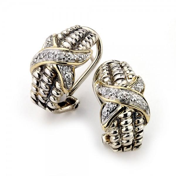 Samuel B. Sterling Silver/14K  CriSterling Silver CroSterling Silver Diamond Earrings