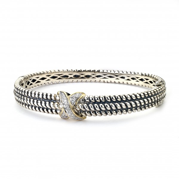 Samuel B. Sterling Silver/14K CriSterling Silver CroSterling Silver Diamond And Gold Bangle
