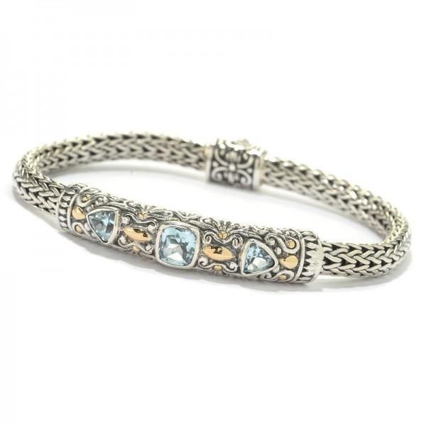 Samuel B. Sterling Silver/18KY Blue Topaz Bracelet