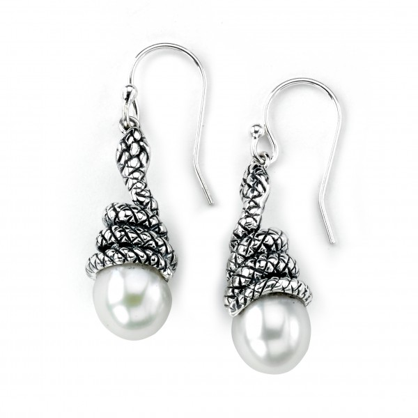 Samuel B. Sterling Silver Snake Wrap Around Freshwater Pearl Earrings