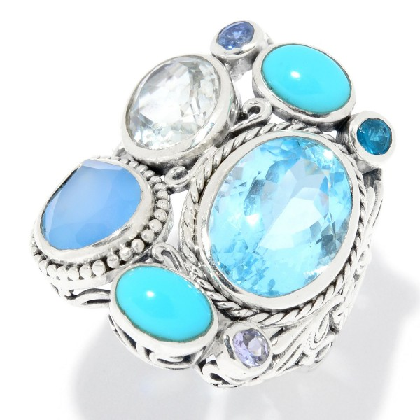 Samuel B. Sterling Silver Multi-Shape Blue Topaz& Multi Color Stone Ring