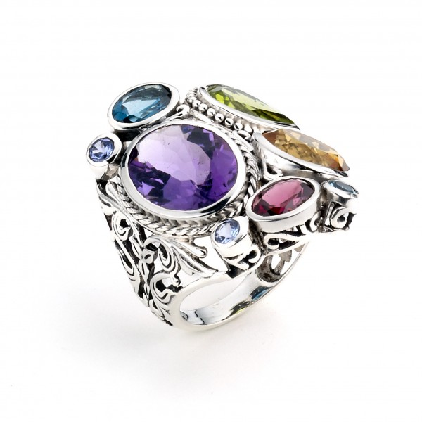 Samuel B. Sterling Silver Multi-Shape Multi-Gem Ring