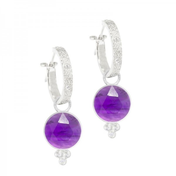 Chloe Amethyst Silver Earring Charms (Charms only)