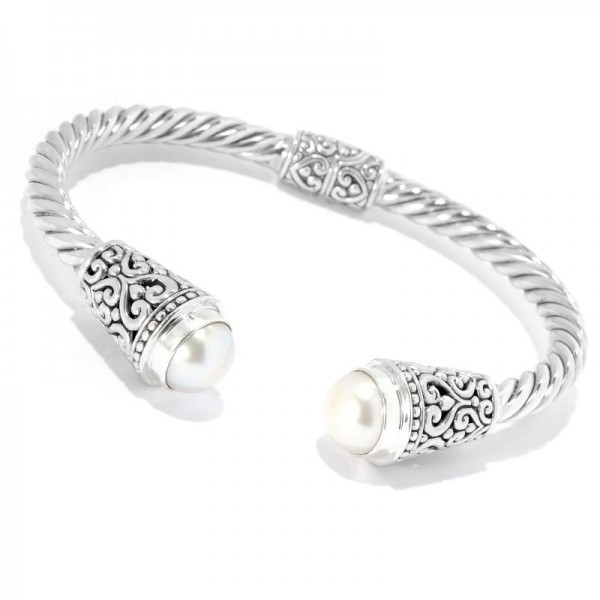 Samuel B. Sterling Silver Balinese Design White Freshwater Pearl Twisted Bangle