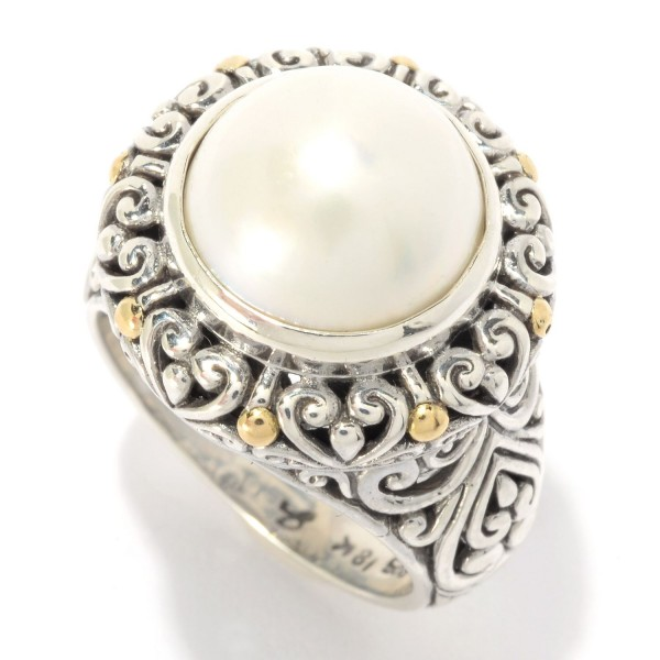 Samuel B. Sterling Silver/18KY Round White Pearl Ring