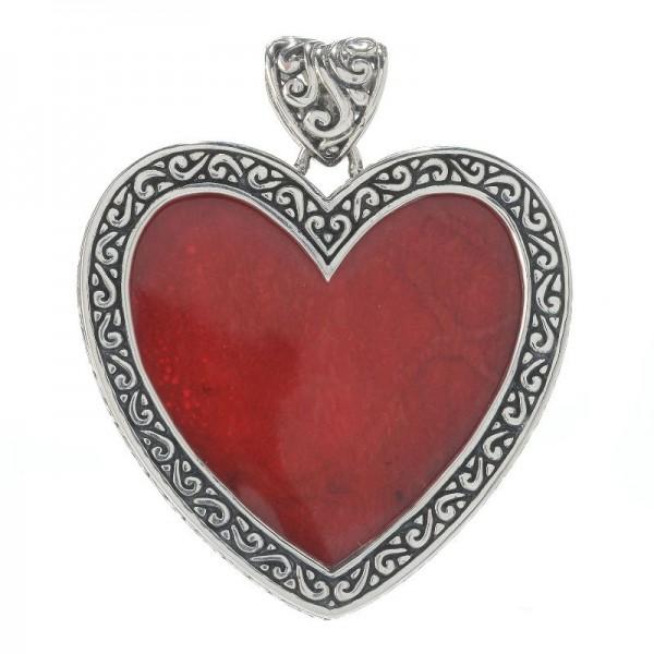 Samuel B. Sterling Silver Heart Coral Bali Design Pendant