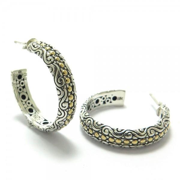 Samuel B. Sterling Silver/18KY Balinese Design Hoop Earrings
