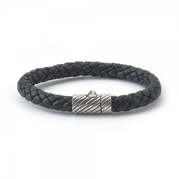 Samuel B. Sterling Silver Men's Black Leather Bracelet with Twisted Lock