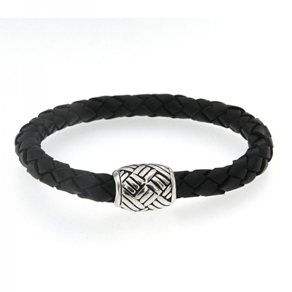 Samuel B. Sterling Silver Woven Design Black Leather Bracelet