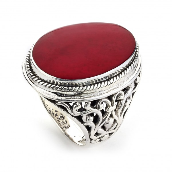 Samuel B. Sterling Silver Oval Coral Ring