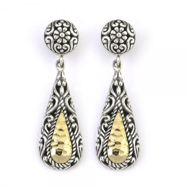 Samuel B. Sterling Silver/18KY Hammered Design Tear Drop Earrings with Stud