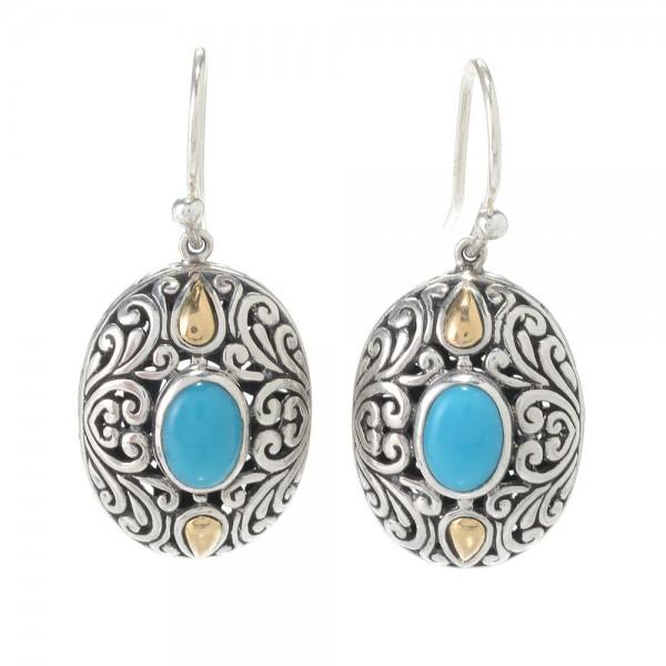 Samuel B. Sterling Silver/18K Oval Sleeping Beauty Turquoise Earrings