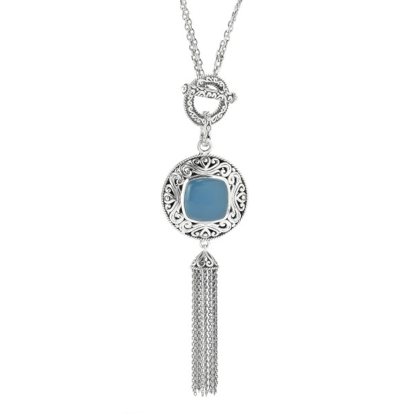 Samuel B. Sterling Silver Blue Chalcedony Center Tassel Necklace