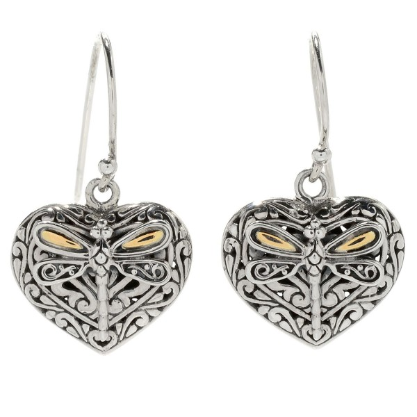 Samuel B. Sterling Silver/18KY Heart Shaped Earrings with Dragonfly