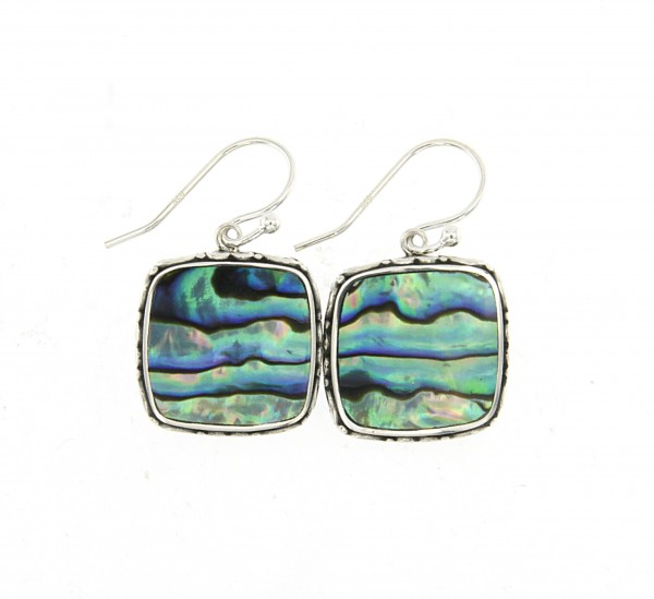 Samuel B. Sterling Silver Square Balinese Design Abalone Earrings