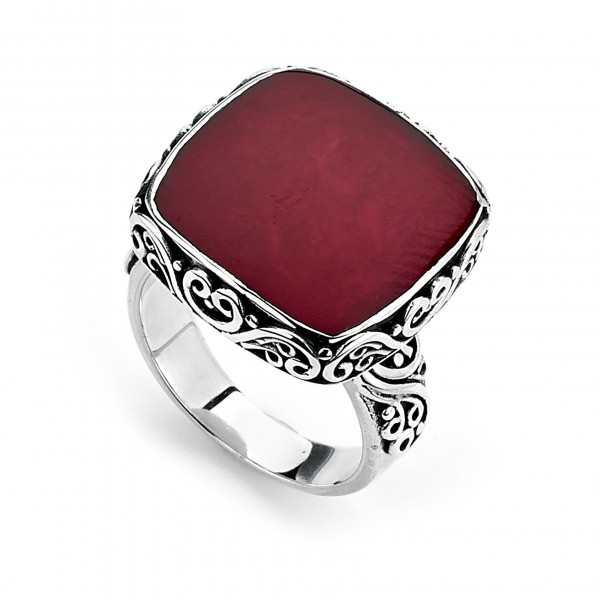 Samuel B. Sterling Silver Square Balinese Design Coral Ring
