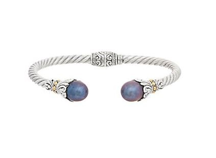 Samuel B. Sterling Silver/18KY Twisted Cable Bangle w/Blue Freshwater Pearl