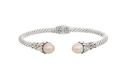 Samuel B. Sterling Silver/18KY Twisted Cable Bangle w/Pink Freshwater Pearl