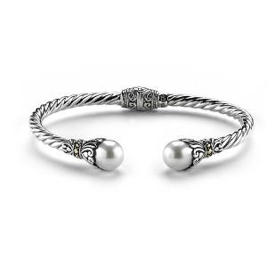 Samuel B. Sterling Silver/18KY Twisted Cable Bangle w/White Freshwater Pearl
