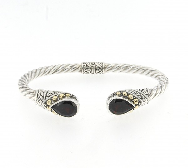 Samuel B. Sterling Silver/18KY Twisted Hinged Cable Bangle with Pear Cut Garnet Ends