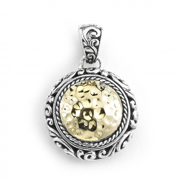 Samuel B. Sterling Silver/18KY Round Hammered Gold Pendant