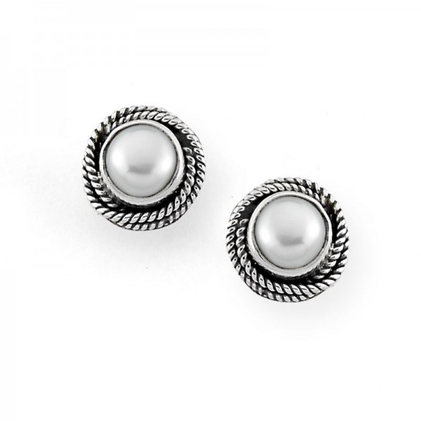 Samuel B. Sterling Silver Round White Mabe Pearl Twisted Rope Design Stud Earrings