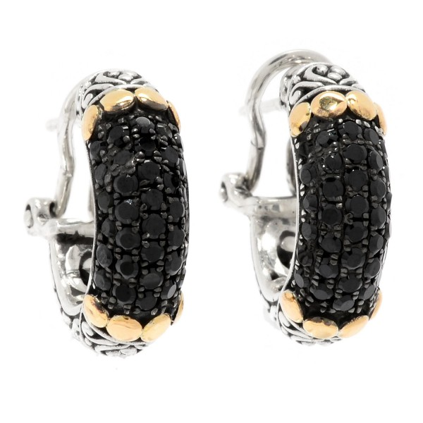 Samuel B. Sterling Silver/18KY Black Spinel Pave Earrings