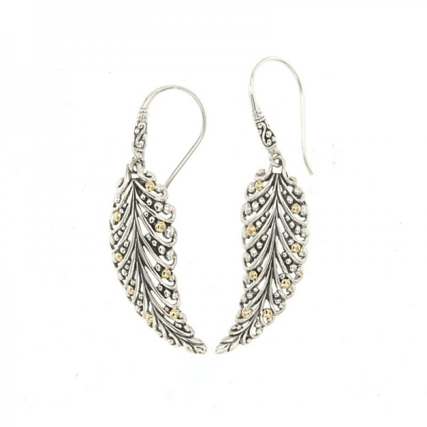Samuel B. Sterling Silver/18KY Leaf Earrings