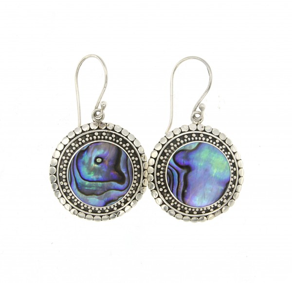 Samuel B. Sterling Silver Round Abalone Earrings