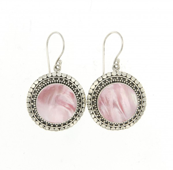 Samuel B. Sterling Silver Round Pink Mother Of Pearl Earrings