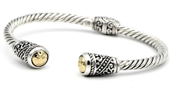 Samuel B. Sterling Silver/18KY Twisted Cable Bangle w/Round Hammered Gold End Caps
