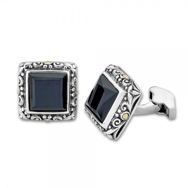 Samuel B. Sterling Silver/18KY Black Onyx Square Shape Cufflinks