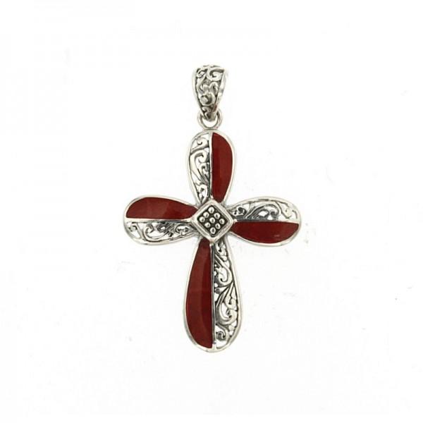 Samuel B. Sterling Silver Coral Cross Pendant