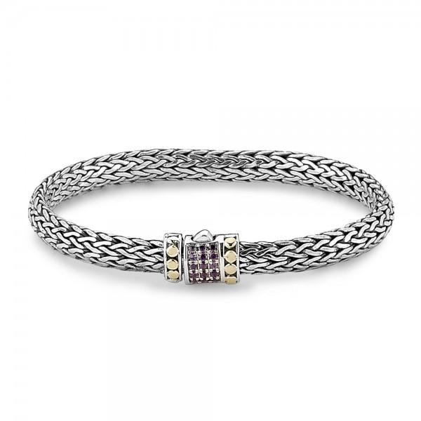 Samuel B. Sterling Silver/18KY Amethyst Pave Bracelet