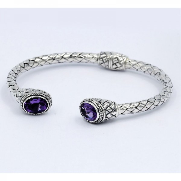 Samuel B. Sterling Silver Oval Amethyst Woven Design Hinged Bangle