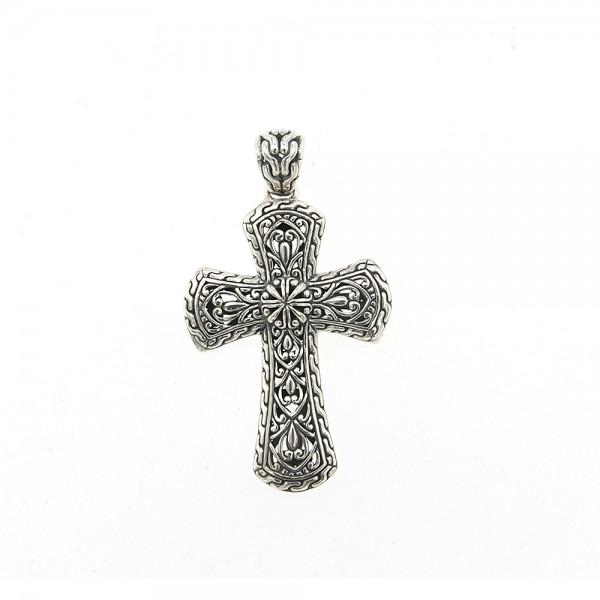 Samuel B. Sterling Silver Balinese Design Cross Pendant