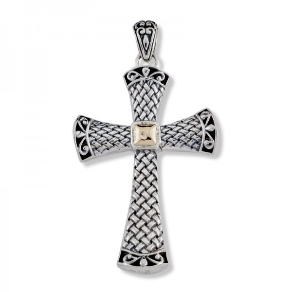 Samuel B. Sterling Silver/18KY Cross Pendant with Gold Center