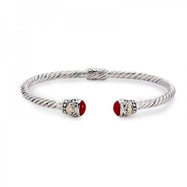 Samuel B. Sterling Silver/18KY 3mm Twisted Cable Bangle with Coral Endcaps
