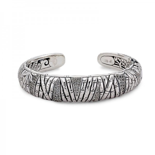 Samuel B. Sterling Silver Bamboo Design Pave White Topaz Bangle
