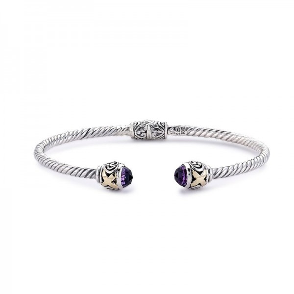 Samuel B. Sterling Silver/18KY X Design Bangle with Amethyst
